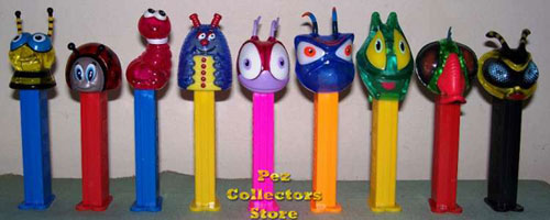 9 crystal Bugz pez set