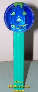 Green Eye Pumpkin Pez on Teal Green Test Stem