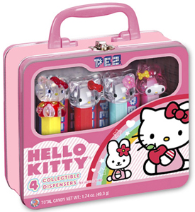 Hello Kitty Gift Tin Lunch Box with full body Pez