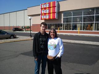 Kyle Jordan and Chris Jordan at the Pez Visitor Center
