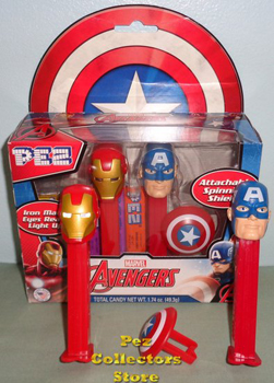 Marvel Avengers Interactive Pez Twin Pack with light up eyes and spinning shield
