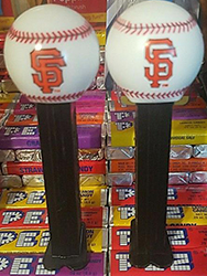 Old SF logo and new SF logo baseball pez