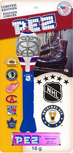 Original 6 NHL Team Logos on Pez Card