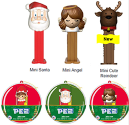 2018 Christmas mini pez in ornaments
